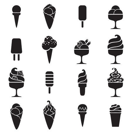 Illustration for Ice cream black icons set in flat style. Sweet food symbols. - Royalty Free Image