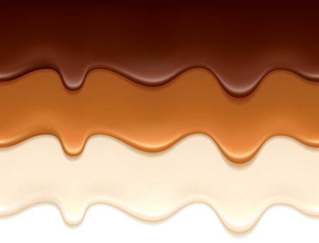 Ilustración de Melted chocolate, caramel and yogurt drips - seamless horizontal borders set. - Imagen libre de derechos