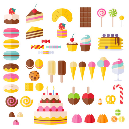 Illustration pour Set of sweet food icons. Candy, sweets, lollipop, cake, donut, macaroon, ice cream, jelly. - image libre de droit