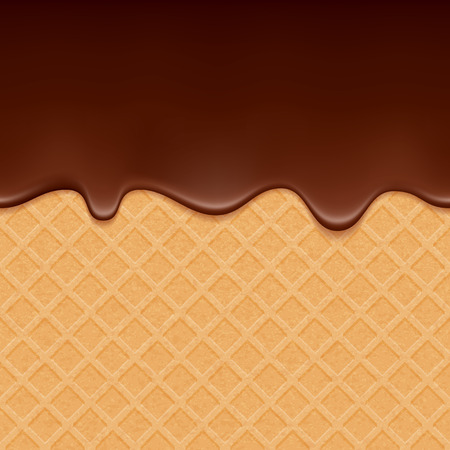 Illustration pour Wafer and flowing chocolate - vector background. Sweet texture. Soft icing. - image libre de droit