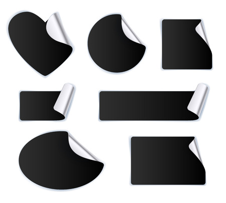 Illustration pour Set of black stickers - silver foil reverse side. Peeled off paper labels. Heart, circle, square, oval. - image libre de droit