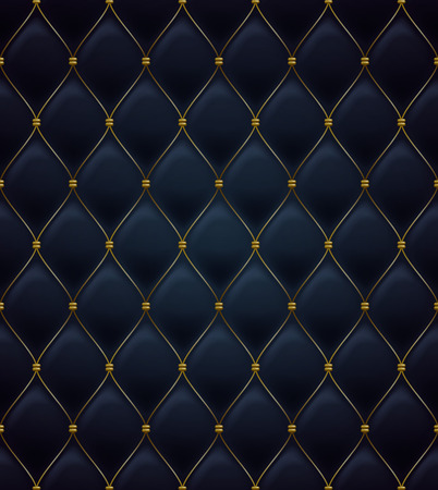 Illustration for Quilted seamless pattern. Black color. Golden metalling stitching on textile. - Royalty Free Image