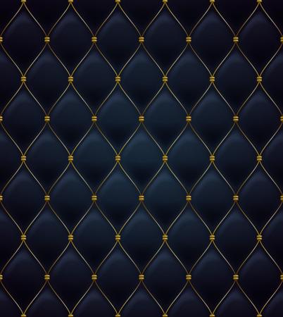 Photo pour Quilted seamless pattern. Black color. Golden metalling stitching on textile. - image libre de droit