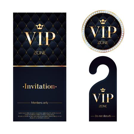 Ilustración de VIP zone members premium invitation card, warning hanger and round label badge. Black and golden design template set. Quilted dexture, diamonds and metal. - Imagen libre de derechos