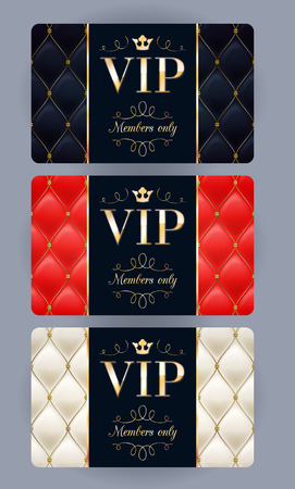Ilustración de VIP cards with abstract quilted background. Different cards categories. Members only design. - Imagen libre de derechos