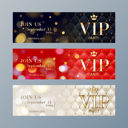Illustration pour Set of colorful VIP party web site banners templates. Bokeh glow and quilted pattern backdrop. - image libre de droit