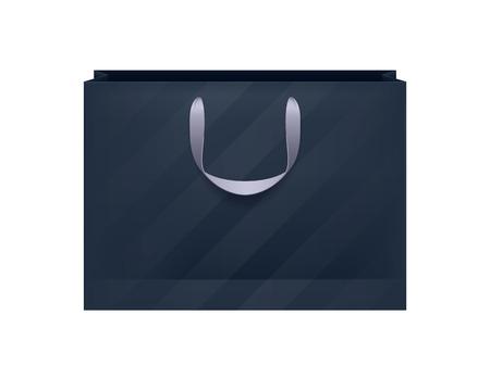 Illustration pour Blank black striped paper bag with gray handles. Packaging design mock-up. - image libre de droit