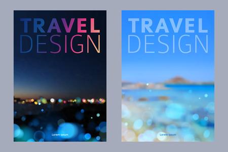 Ilustración de Cover design vector illustration - travel theme. Brochure, flayer, poster, booklet, magazine concept. - Imagen libre de derechos