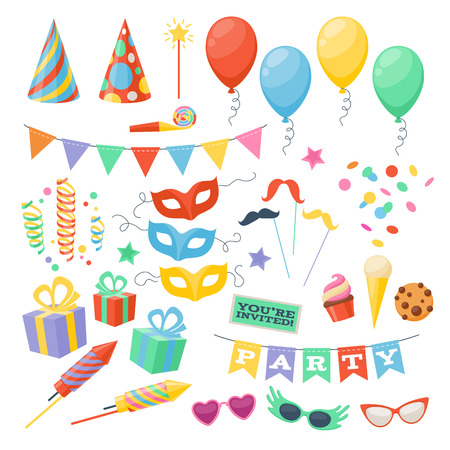 Ilustración de Celebration party carnival festive icons set. Colorful symbols - hat, mask, gifts, balloon. - Imagen libre de derechos
