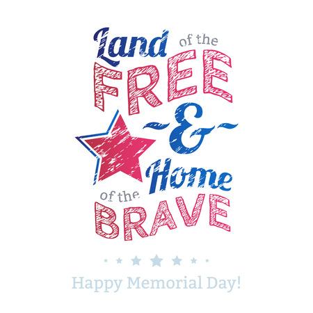 Ilustración de USA national celebrations badge with message. Memorial Day patriotic text - Land of the free, home of the brave. - Imagen libre de derechos