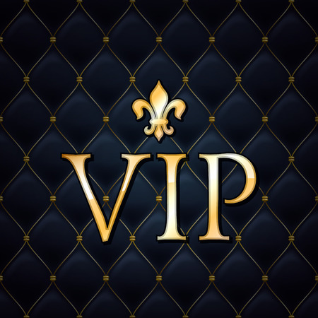 Illustration for VIP abstract quilted background, golden letters with royal lily. - Royalty Free Image