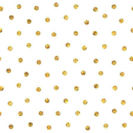 Illustration for Seamless random polka dot golden pattern. Dots of small mosaic faceted triangles. - Royalty Free Image