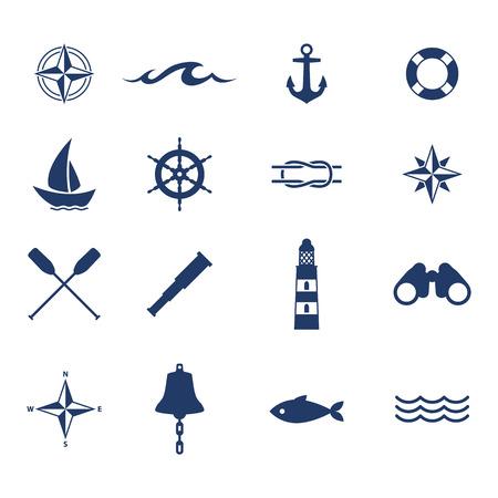Ilustración de Set of nautical sea ocean sailing icons. Compass anchor wheel bell fish lighthouse symbols. - Imagen libre de derechos