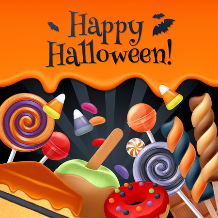 Illustrazione per Halloween sweets colorful party background. Lollipop candy corn cake caramel apple jelly bean donut chocolate, good for holiday design. Dripping orange background with greetings. - Immagini Royalty Free