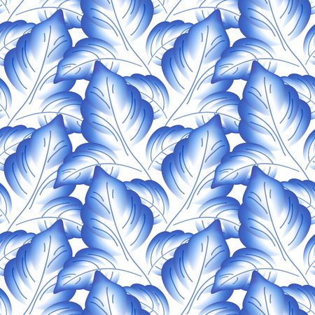 Ilustración de Blue leaves floral russian porcelain beautiful folk ornament. Vector illustration. Seamless pattern background. - Imagen libre de derechos