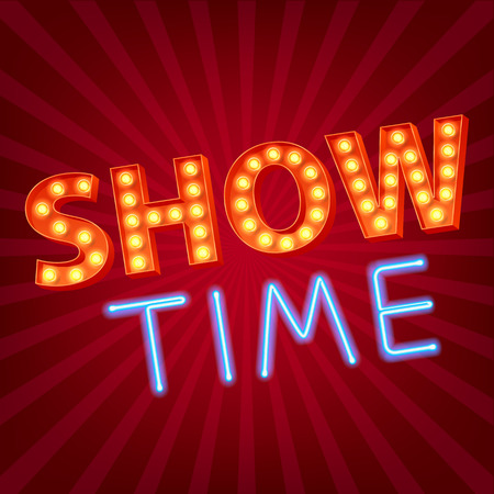Illustration pour Show time neon and bulb letters advertisment vector illustration. Colorful background. - image libre de droit
