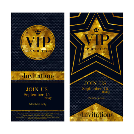 Illustration for VIP party premium invitation cards posters flyers. Black and golden design template set. Circle and star shaped mosaic faceted backgrounds. - Royalty Free Image