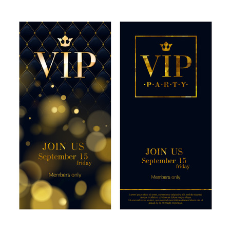 Ilustración de VIP party premium invitation cards posters flyers. Black and golden design template set. Glow bokeh and wuilted pattern decorative background. Mosaic faceted letters. - Imagen libre de derechos