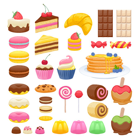 Illustration pour Set of sweet food icons. Candy sweets lollipop cake donut macaroon cookie jelly. - image libre de droit