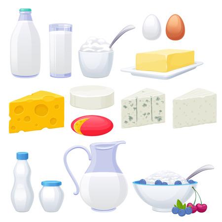 Illustration pour Milk dairy products icons set. Yogurt cheese cream butter vector illustration. - image libre de droit