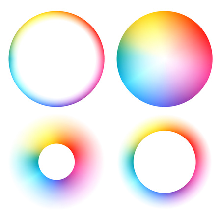 Illustration pour Colorful spectrum rainbow round frames set vector illustration. - image libre de droit