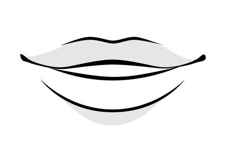 Illustration pour Human lips simple style vector illustration. Woman or man face part icon. - image libre de droit