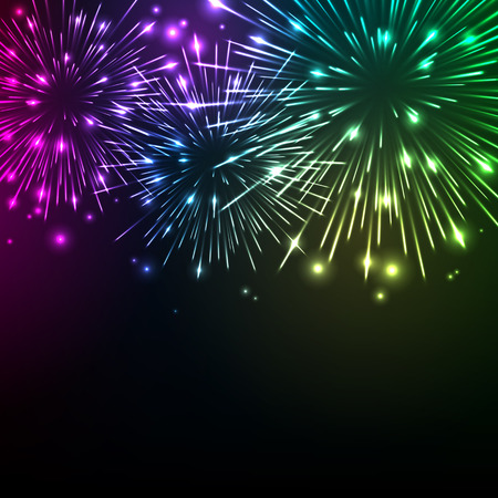 Illustration for Colorful shiny realistic fireworks background. Vector illustration. Celebration holiday design. - Royalty Free Image