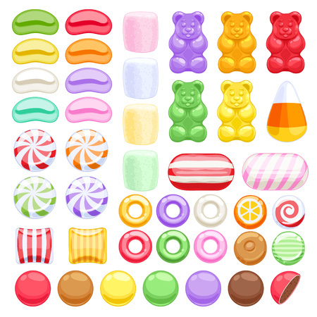Ilustración de Set of different sweets on white background - marshmallow gummy bears hard candies dragee jelly beans peppermint candy. Vector illustration. - Imagen libre de derechos
