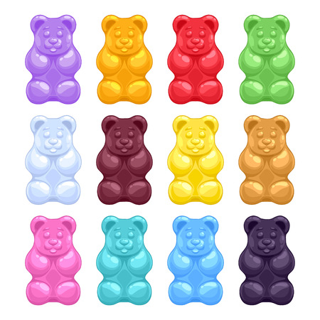 Ilustración de Set of colorful beautiful realistic jelly gummy bears. Sweet candy food. Strawberry vanilla caramel cola menthol lemon orange flavors. Vector illustration. - Imagen libre de derechos