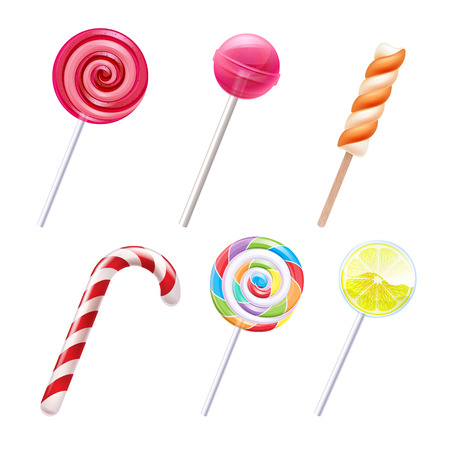Illustration pour Colorful sweets icons set - candy cane marshmallow spiral lollipop lemon vector illustration. - image libre de droit