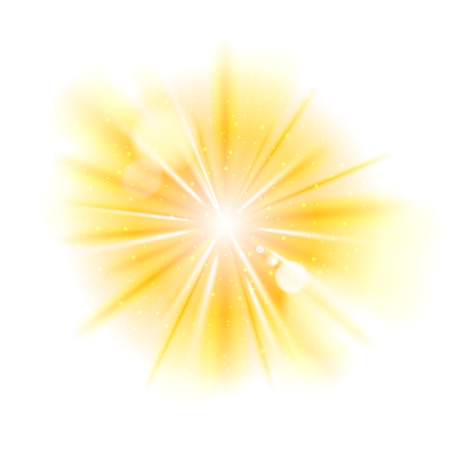 Ilustración de Yellow light sunburst background. Vector star burst with sparkles  illustration. - Imagen libre de derechos