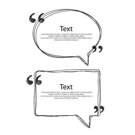Illustration pour Quote bubble frame templates set vector illustration. Hand drawn scribble design. - image libre de droit