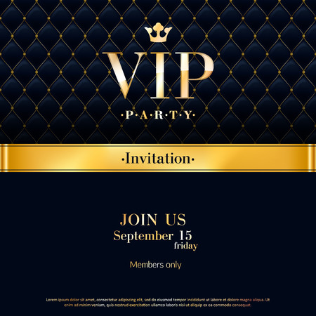 Ilustración de VIP party premium invitation card poster flyer. Black and golden design template. Quilted pattern decorative background with gold ribbon and round badge. - Imagen libre de derechos