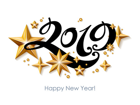 Illustration pour 2019 Happy New Year background. Seasonal greeting card template. - image libre de droit