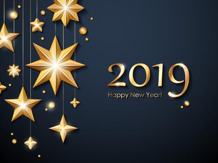 Ilustración de 2019 Happy New Year background. Seasonal greeting card template. - Imagen libre de derechos