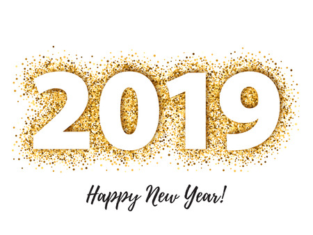 Illustration for 2019 Happy New Year background. Seasonal greeting card template. - Royalty Free Image