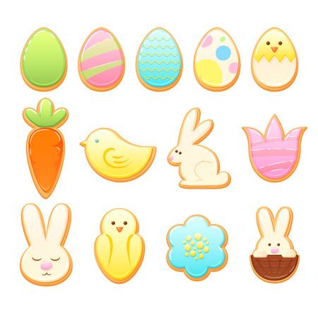 Illustration pour Easter cookies vector set. - image libre de droit