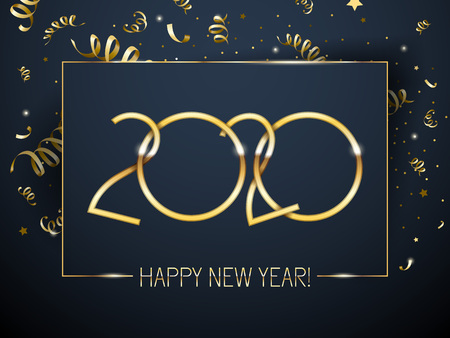 Illustration pour 2020 Happy New Year background with golden number and serpentine. Christmas winter holidays design. Seasonal greeting card, calendar, brochure template. - image libre de droit