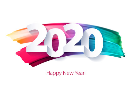 Illustration for 2020 Happy New Year background with colorful numbers. Christmas winter holidays design. Seasonal greeting card, calendar, brochure template. - Royalty Free Image