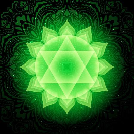 Illustration pour Anahata chakra colorful symbol icon. Heart Chakra. - image libre de droit