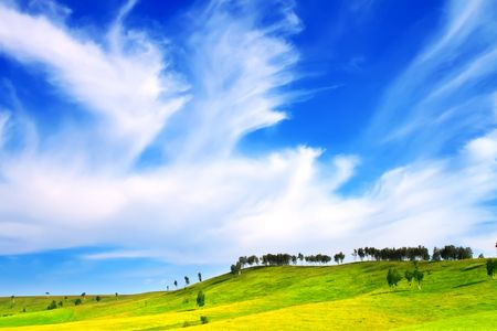 Hills and blue sky