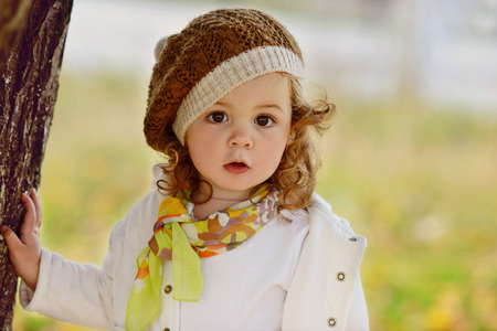 cute baby girl in fall time