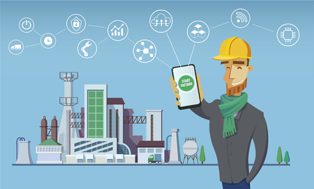 Illustration pour Engineer and smart factory concept. Industrial internet of Things. Sensor Network. Modern digital factory Vector - image libre de droit