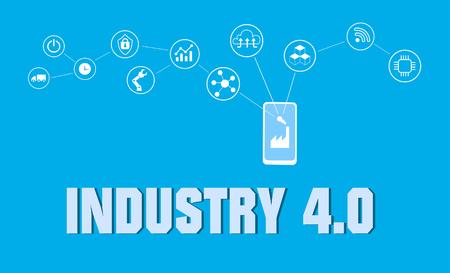 Illustration pour smart factory concept. Industrial internet of Things. Sensor Network. Modern digital factory Vector - image libre de droit