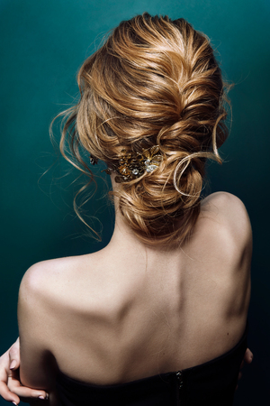 Photo for Model blonde Woman with perfect hairstyle and creative hair-dress, back view - Royalty Free Image
