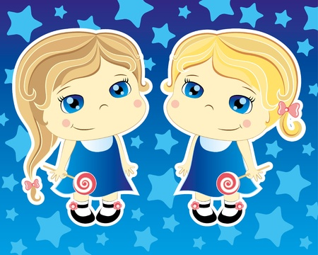 two cartoon cute girls on blue background