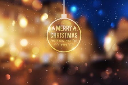 Ilustración de Winter night street, vector blurred background. Merry christmas and happy new year. - Imagen libre de derechos