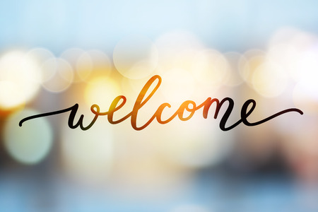 Ilustración de welcome vector lettering on blurred lights background - Imagen libre de derechos