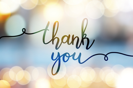 Ilustración de thank you, vector lettering on blurred lights background - Imagen libre de derechos