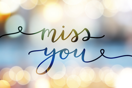 Ilustración de Miss you, lettering, vector card with handwritten text - Imagen libre de derechos